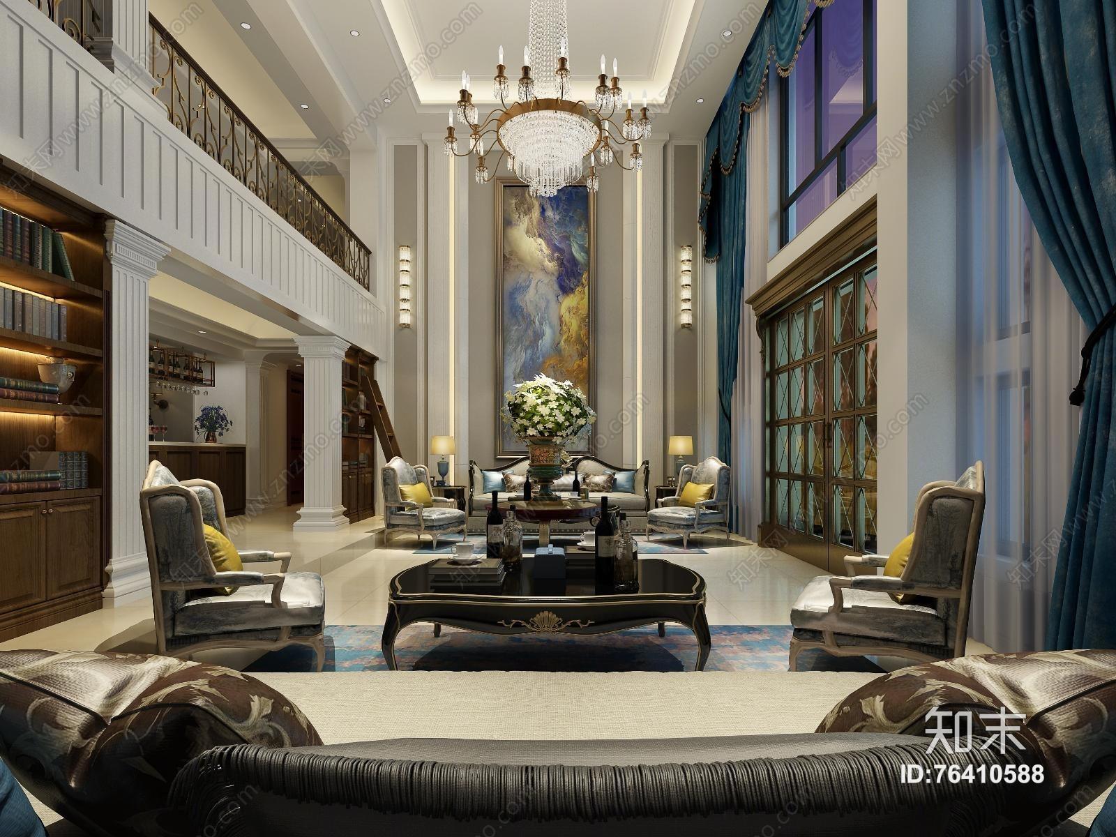 欧式古典别墅客厅 吊灯 台灯 壁灯 单双人沙发 茶几 装饰柜 摆件 挂画