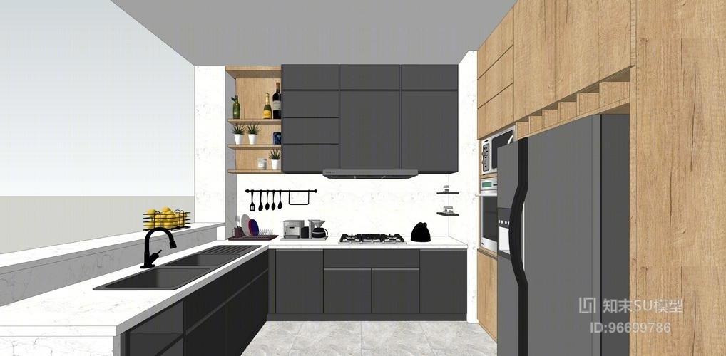 北欧风格厨房设计SU模型