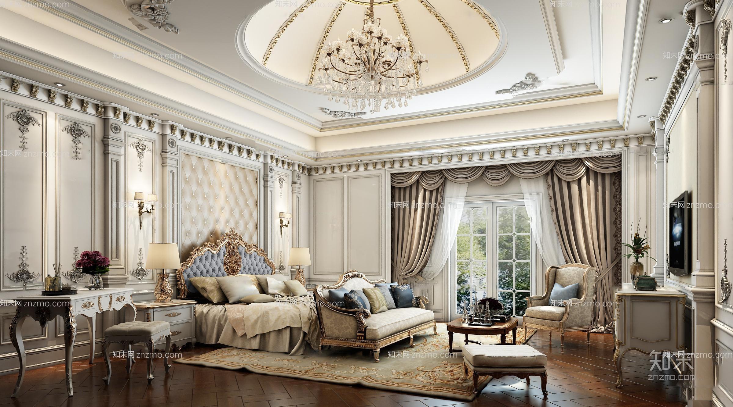 欧式奢华卧室 水晶吊灯 双人床 床头柜 台灯 电视柜 沙发茶几 脚凳