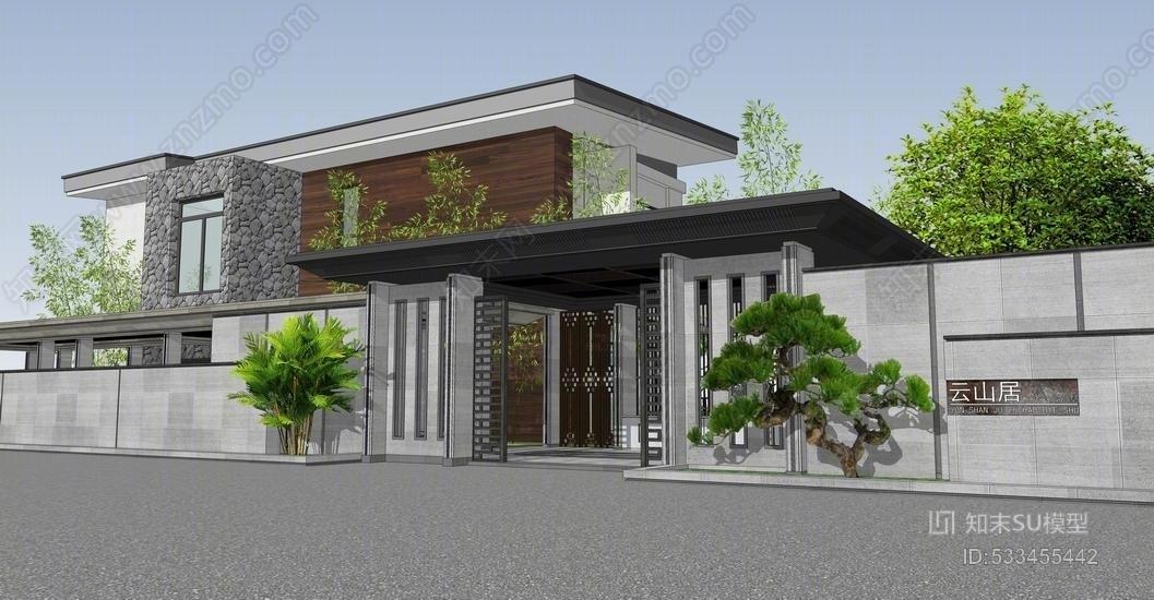 中式别墅景观SU模型