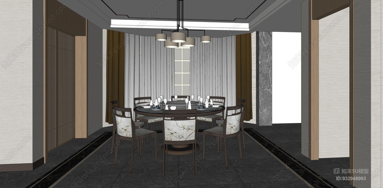新中式别墅客厅 餐厅 装饰架 装饰画 中式隔断 吊灯