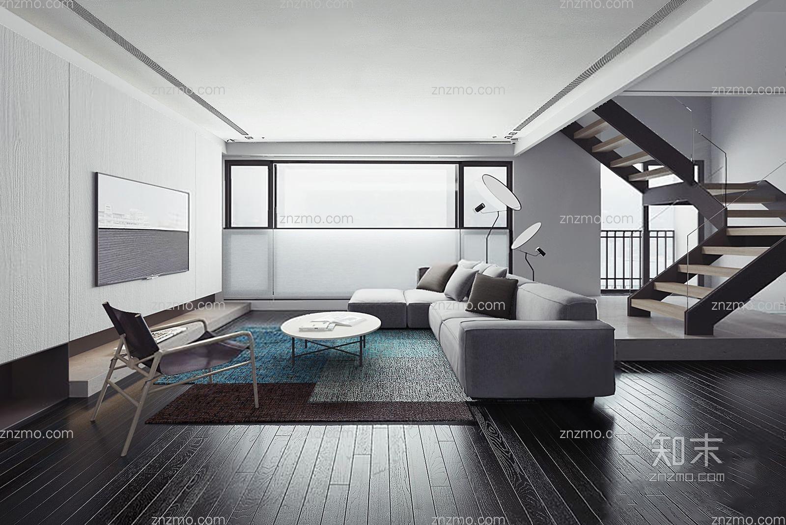 现代客厅 转角 沙发 椅子茶几 楼梯