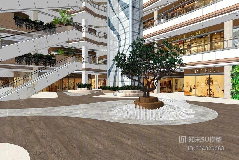购物中心中庭室内设计SU模型
