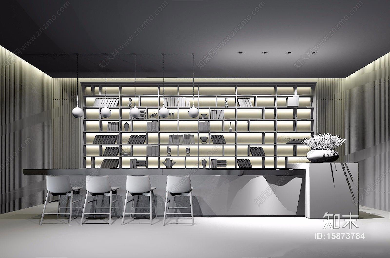 李益中现代新中式大厅前台3d模型下载【id:15873784】图片
