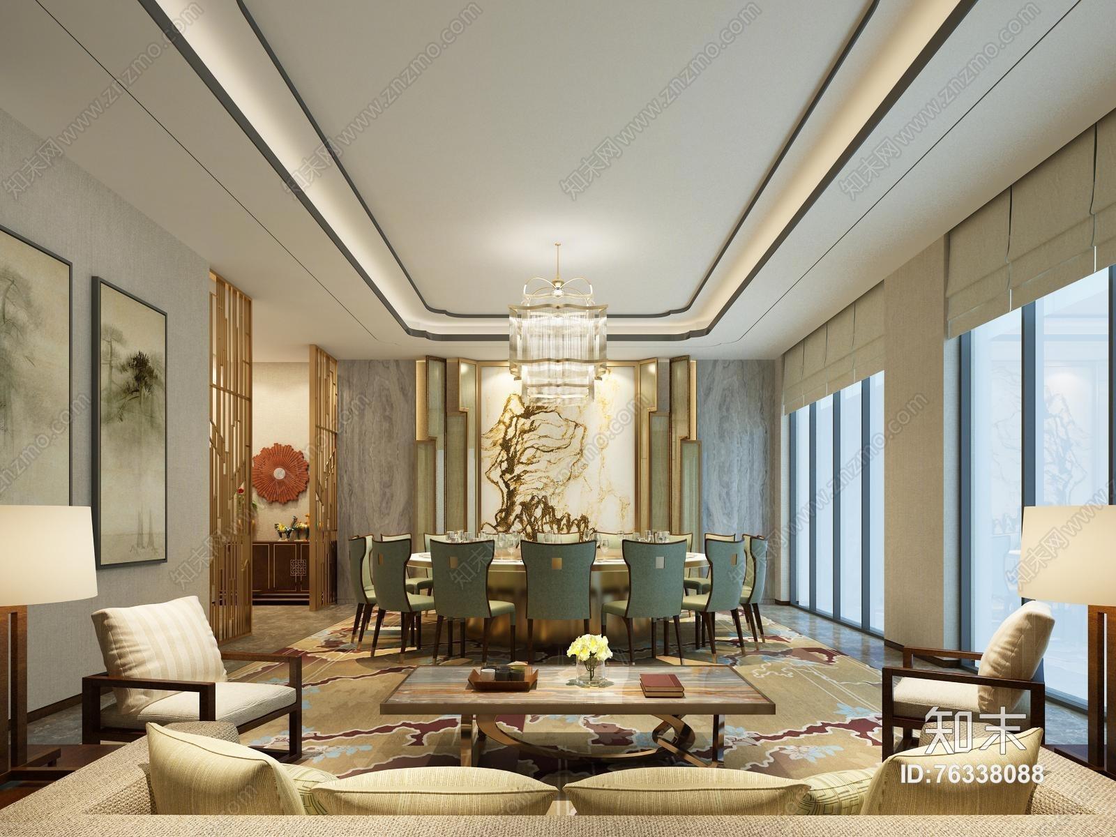 欧式简约酒店餐厅包房 吊灯 餐桌椅 挂画 台灯 单双人沙发 茶几