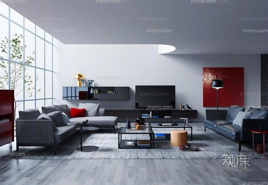 现代客厅 多人沙发 茶几 落地灯 双人皮沙发 电视柜 壁柜