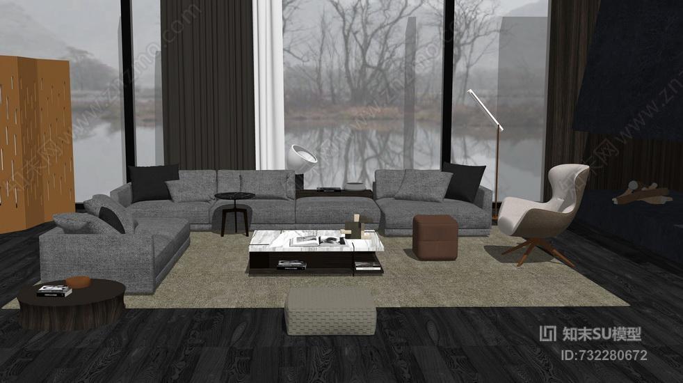 现代客厅沙发茶几组合SU模型