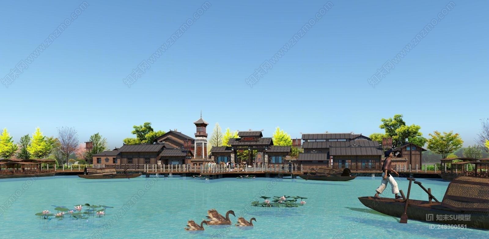 中式风格风景名胜 渔夫码头 旅游服务区