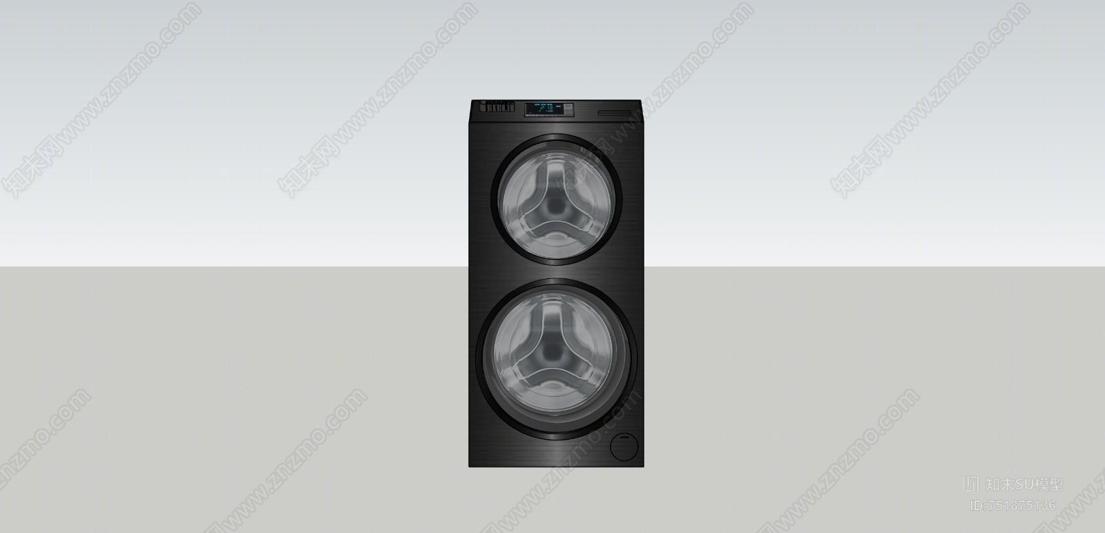 现代风格双滚筒洗衣机SU模型下载【ID:751875136】