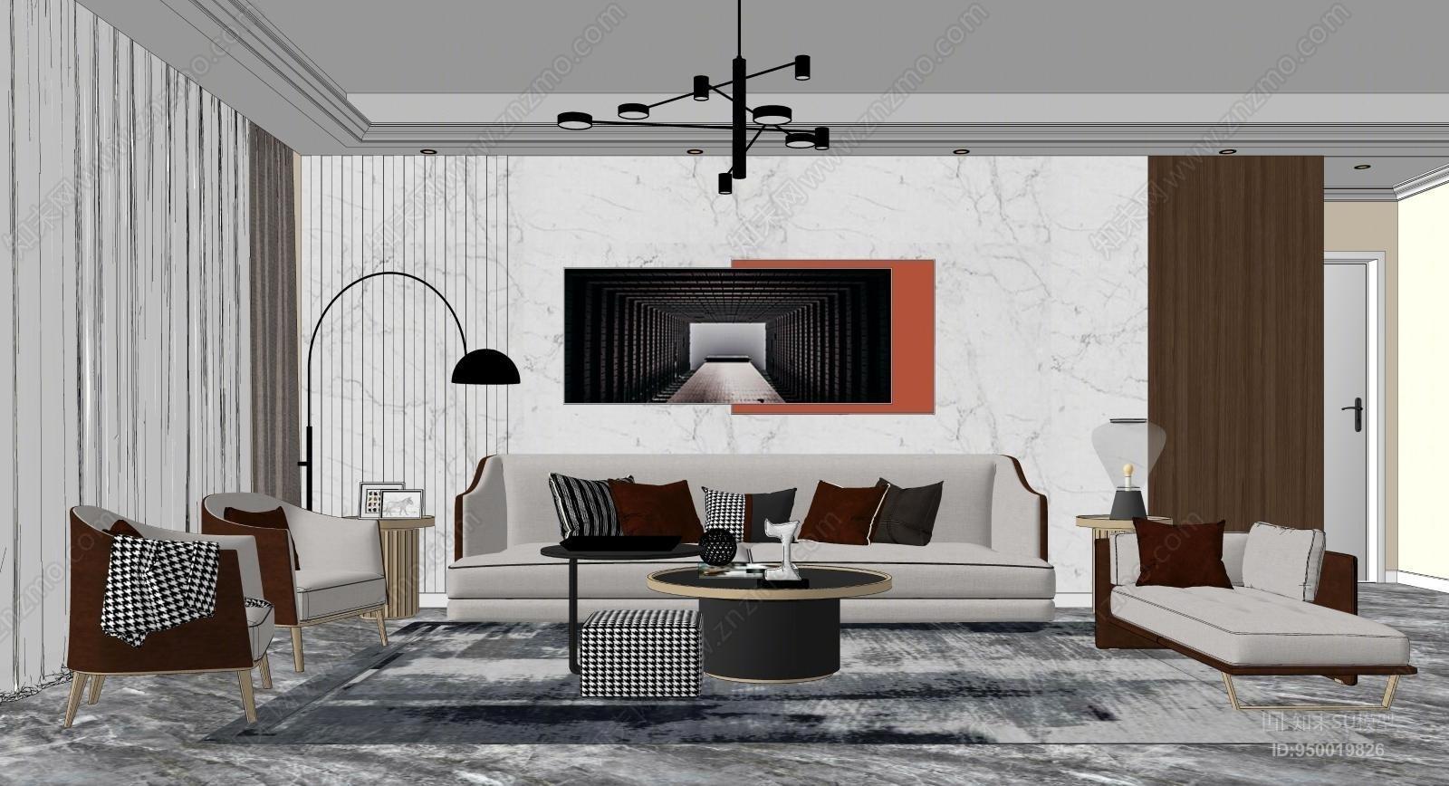 现代风格家居客厅SU模型下载【ID:950019826】
