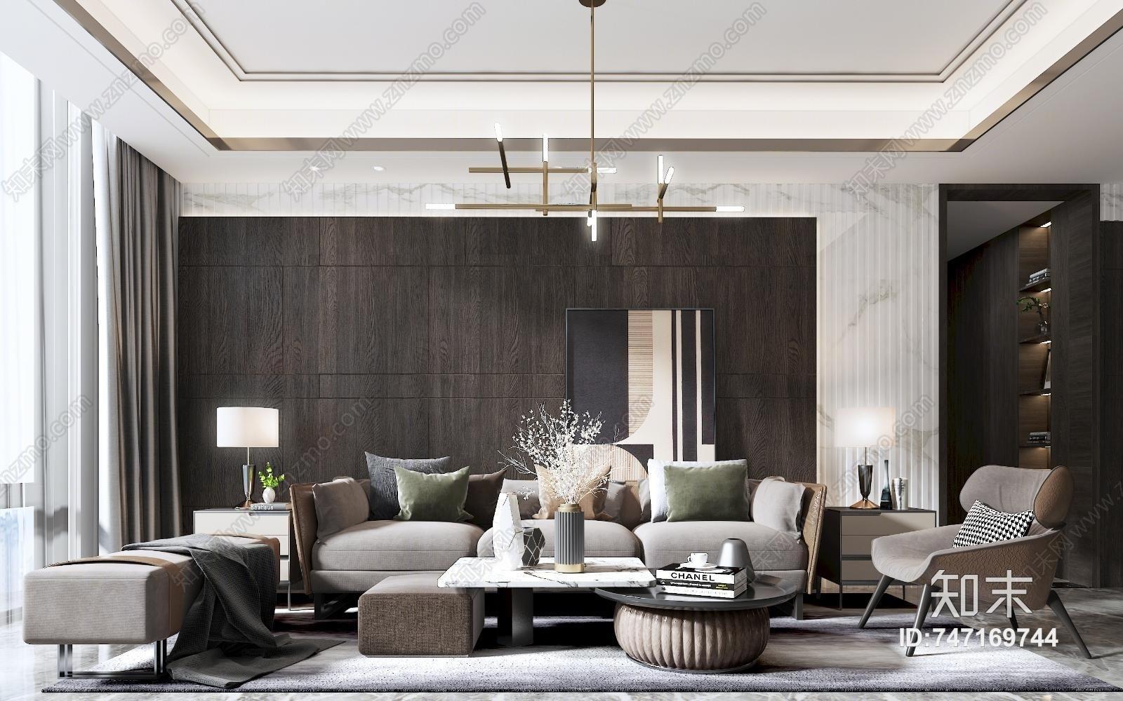 现代客厅 沙发 椅子 茶几 角几 书柜  吊灯 挂画 台灯