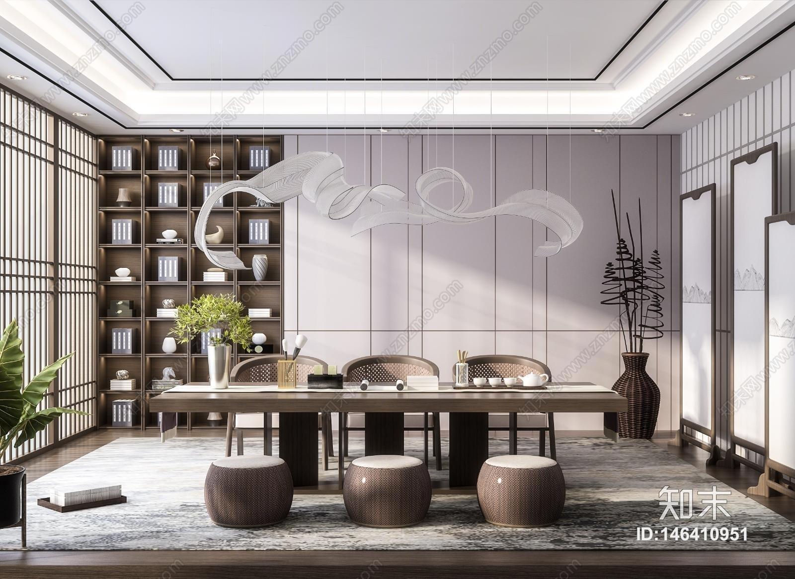 新中式禅意茶室3D模型下载【ID:146410951】