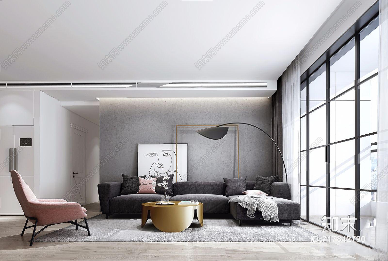 现代客厅 现代客厅 多人沙发 圆茶几 休闲椅 落地灯 转角沙发 布艺沙发 挂画