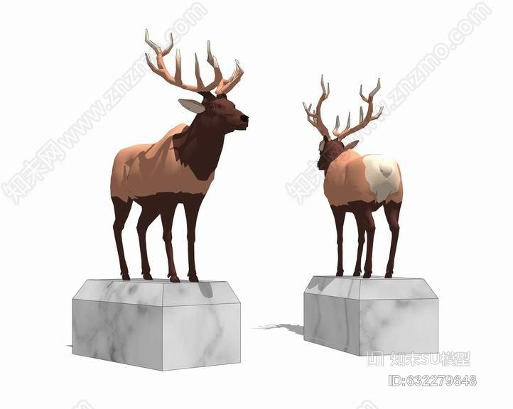 鹿雕塑SU模型