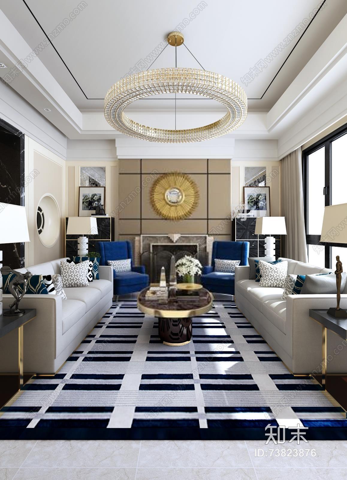 新古典客厅 新古典客厅 沙发 单椅 茶几 角几 吊灯 台灯