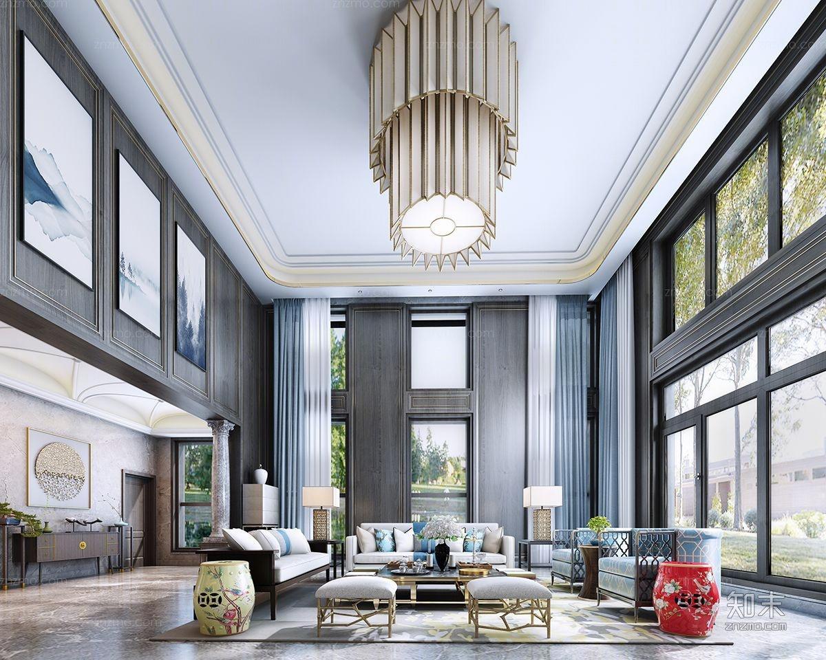 别墅新中式客厅装仹�b9��9f_新中式别墅客厅3d模型下载