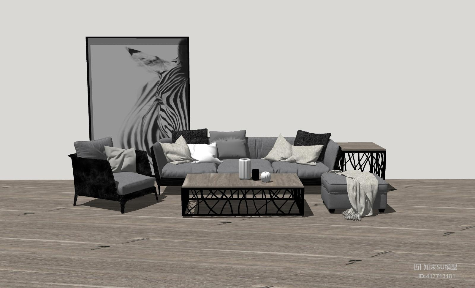 组合沙发SU模型