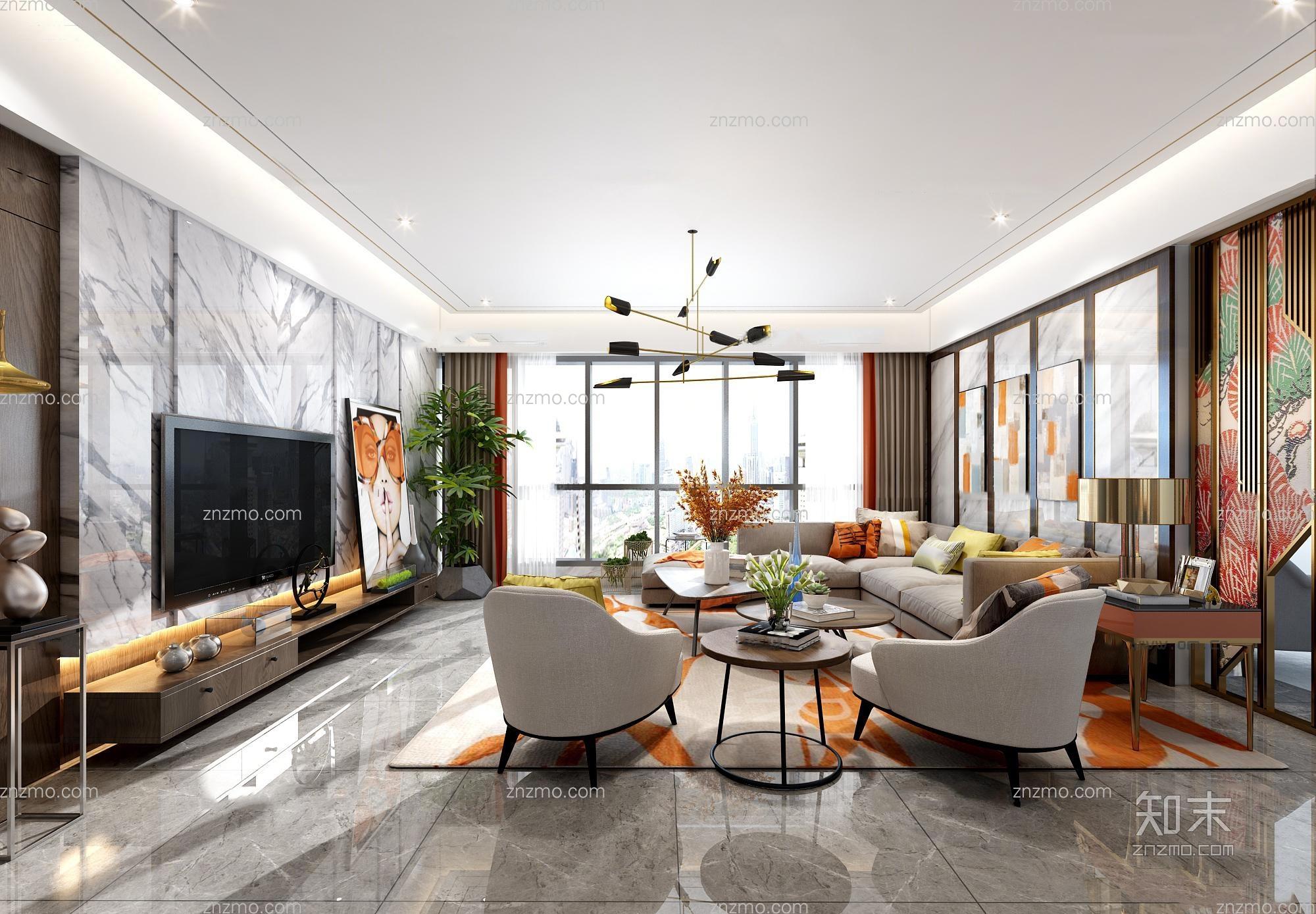 现代客厅餐厅 吊灯 沙发茶几 休闲椅 装饰画 摆件 台灯 餐桌椅