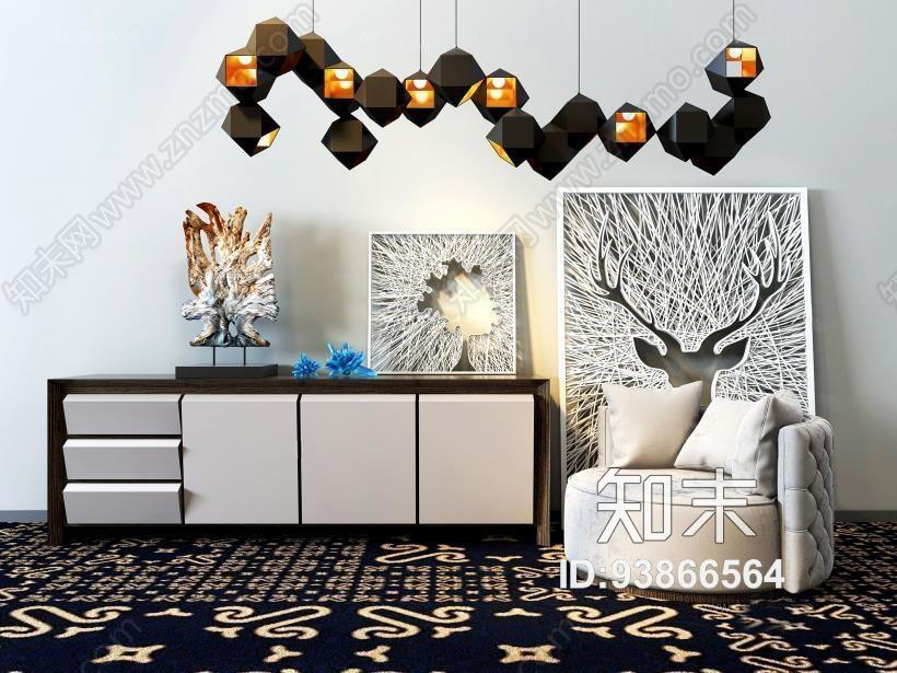 现代电视柜沙发组合 现代电视柜 边柜 吊灯 沙发 装饰画