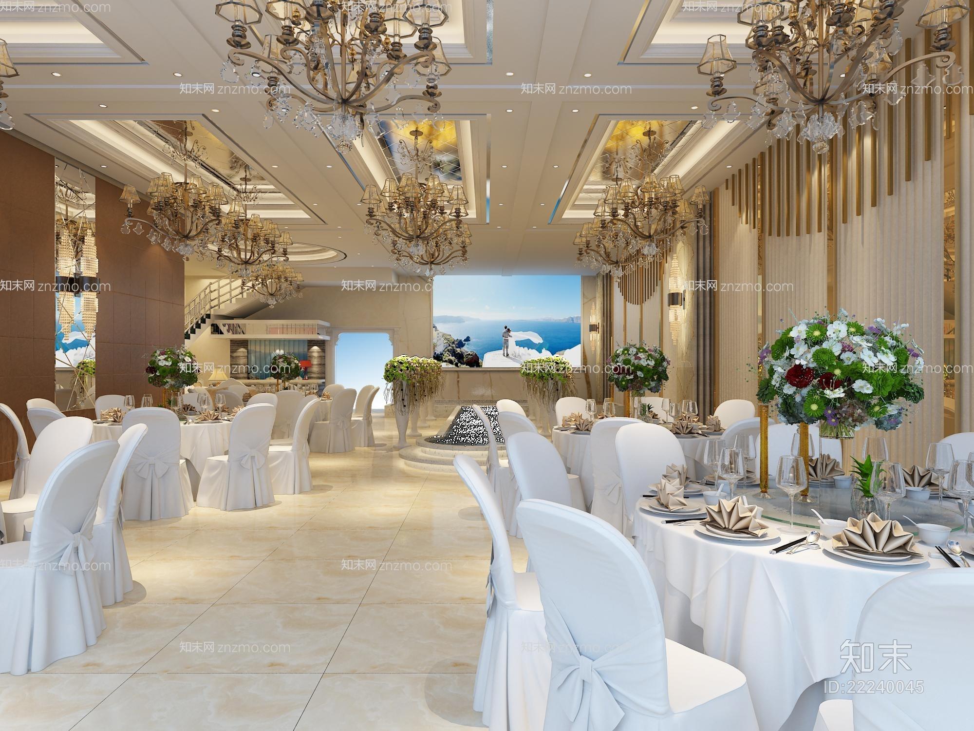 经典欧式酒店宴会厅 经典欧式金属吊灯 现代白色餐桌椅组合 玻璃花瓶