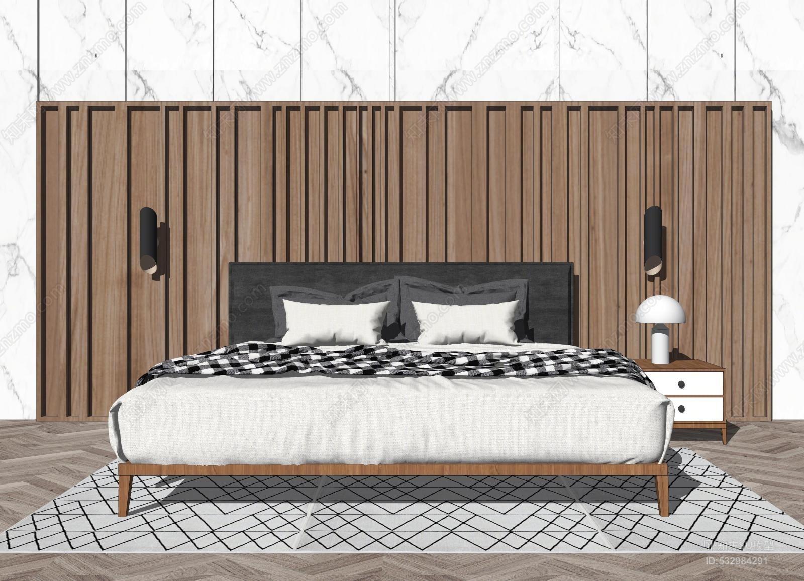 现代北欧简约日式双人床SU模型