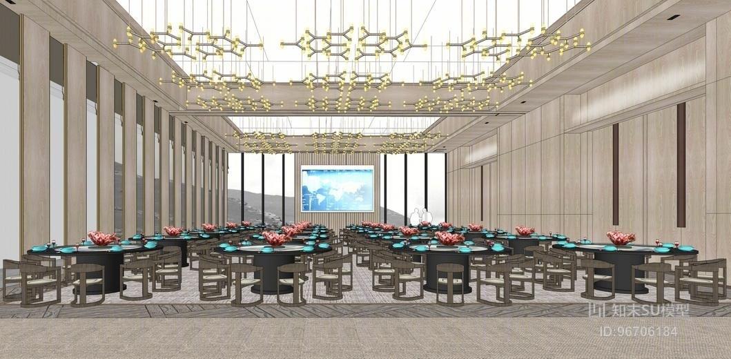 酒店餐厅宴会厅su模型