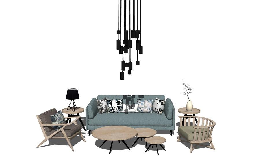 北欧风格客厅沙发茶几吊灯组合SU模型