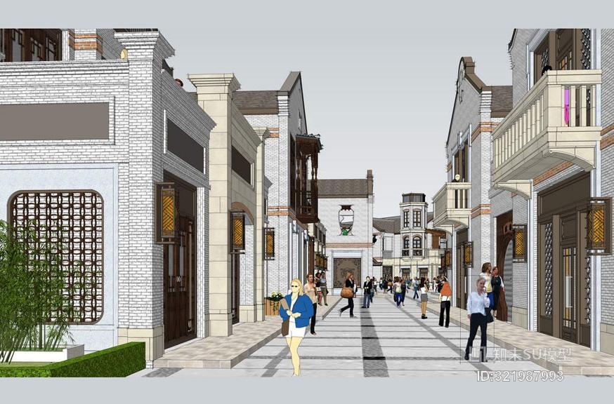 民国风商业街SU模型