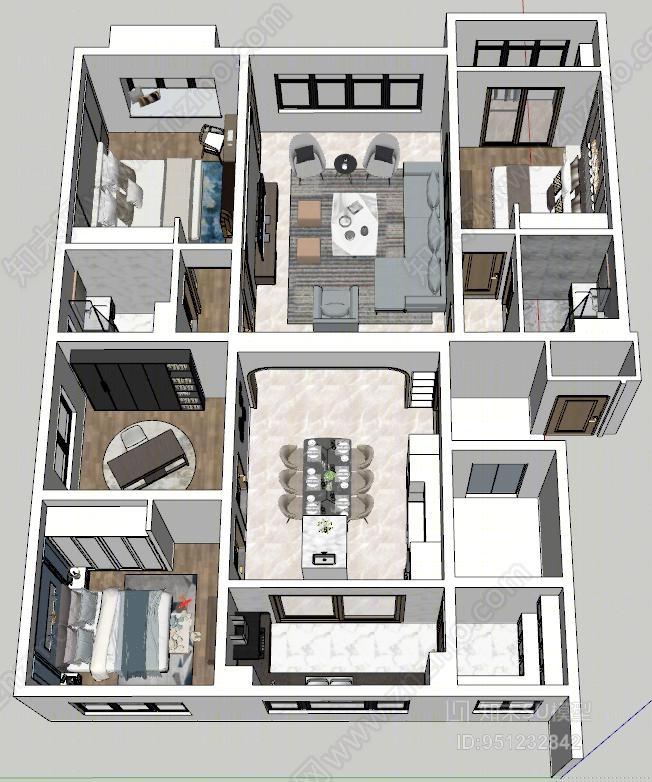 现代风格家居客厅SU模型下载【ID:951232842】