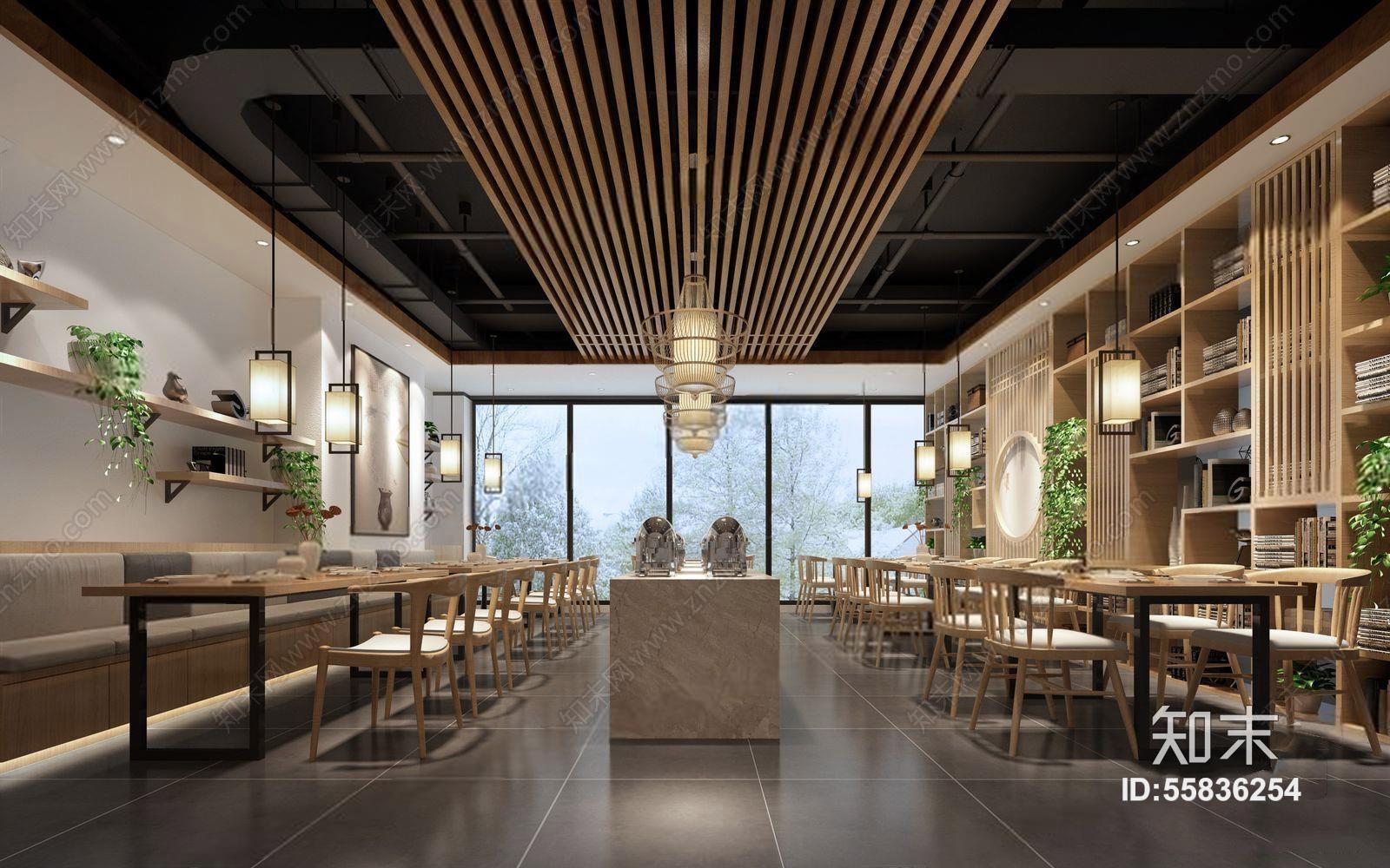 新中式餐厅 新中式餐厅 餐桌 餐椅 取餐台 餐具台 卡座 竹子吊灯 单头