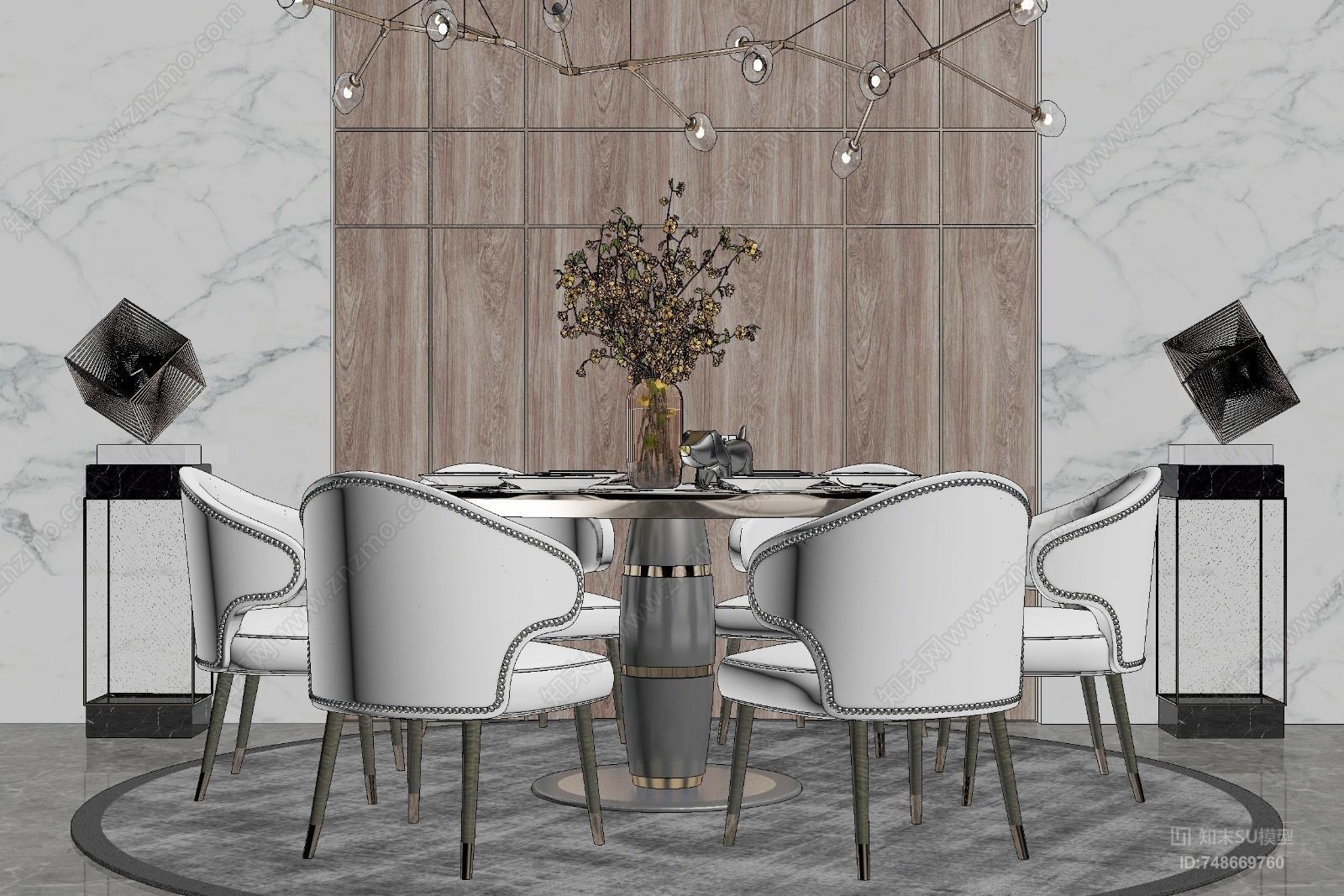 现代风格餐桌椅组合 餐厅背景墙