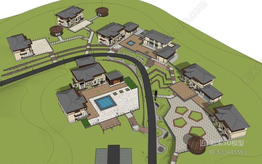 乡村生态旅游景观SU模型