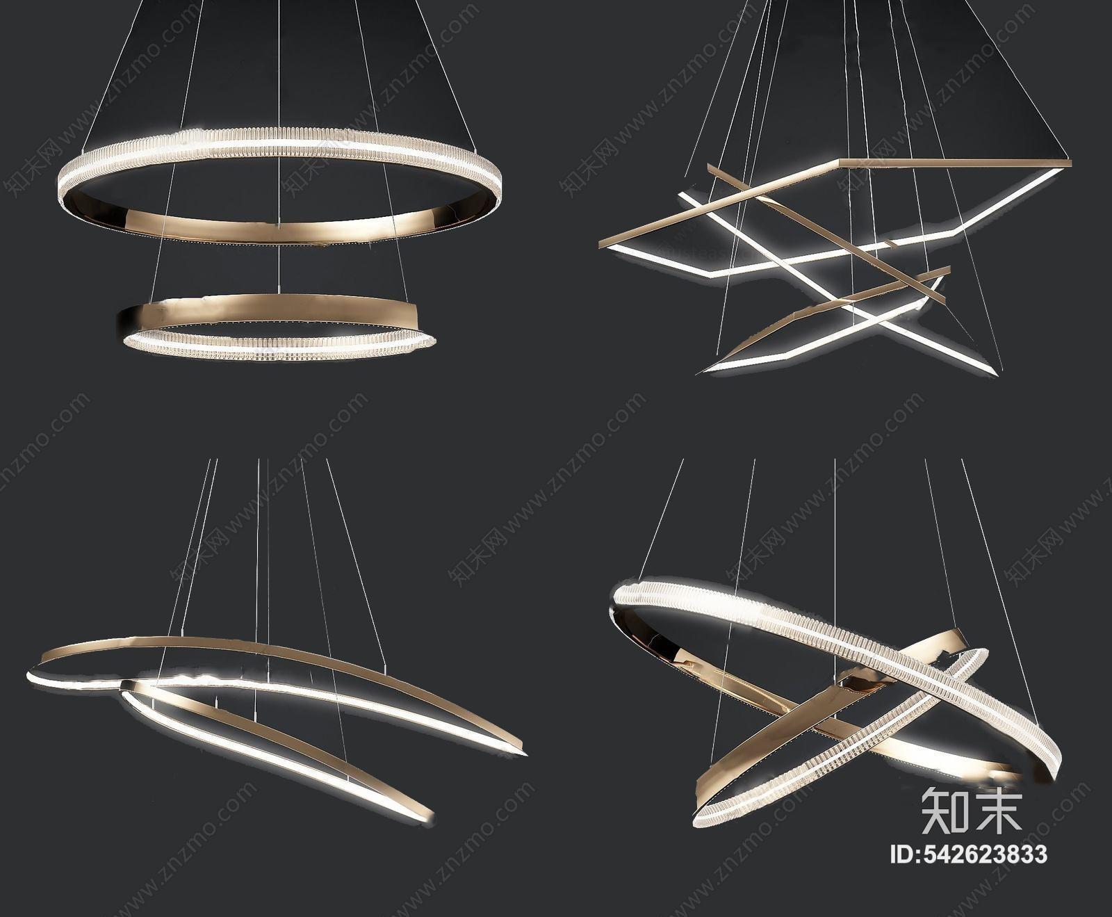 现代金属吊灯组合3D模型下载【ID:542623833】