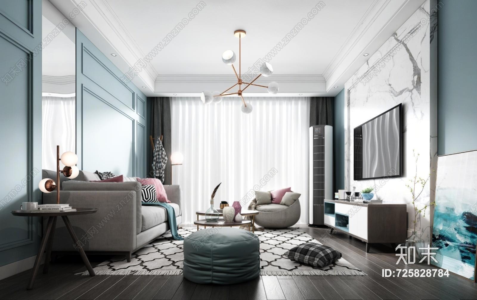 北欧客厅 沙发 地毯 吊灯 台灯 电视柜 装饰柜 装饰品 挂画 抱枕