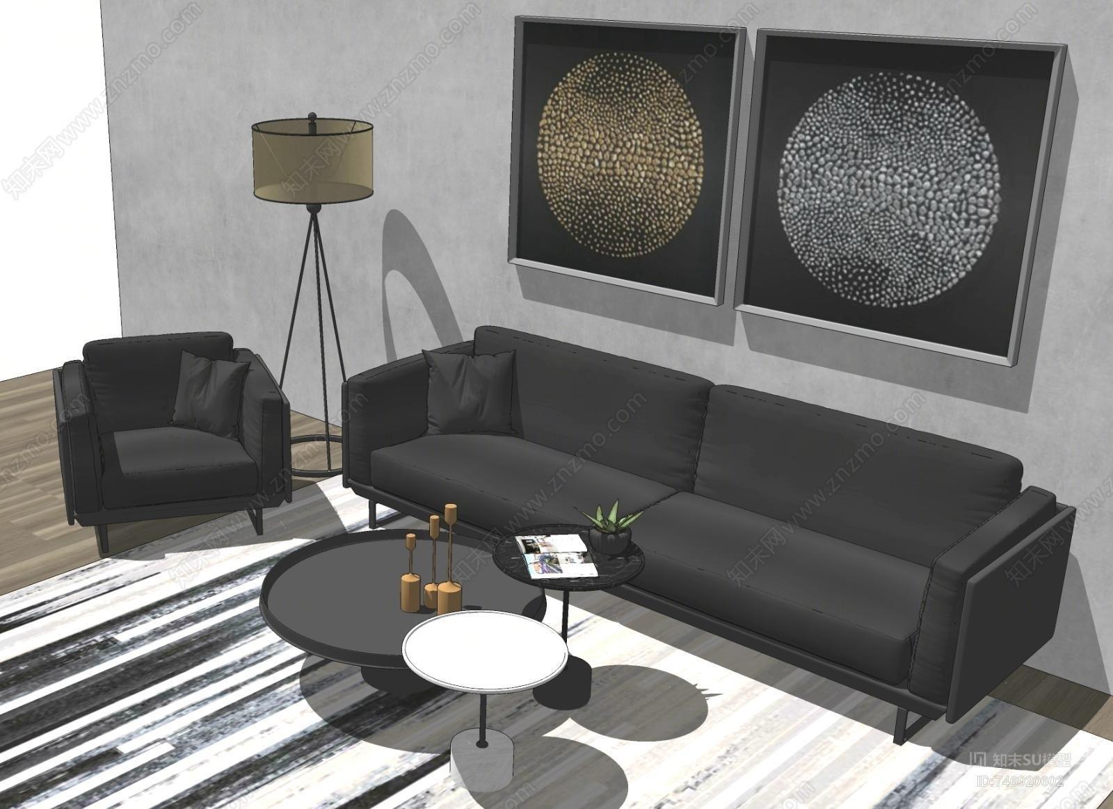 现代皮具沙发茶几组合SU模型下载【ID:746920602】