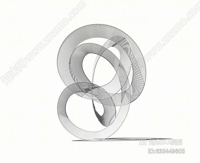 抽象圆环雕塑SU模型