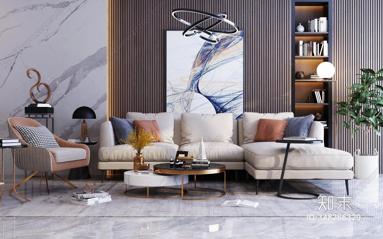现代轻奢转角沙发茶几组合 休闲椅 挂画摆件 吊灯
