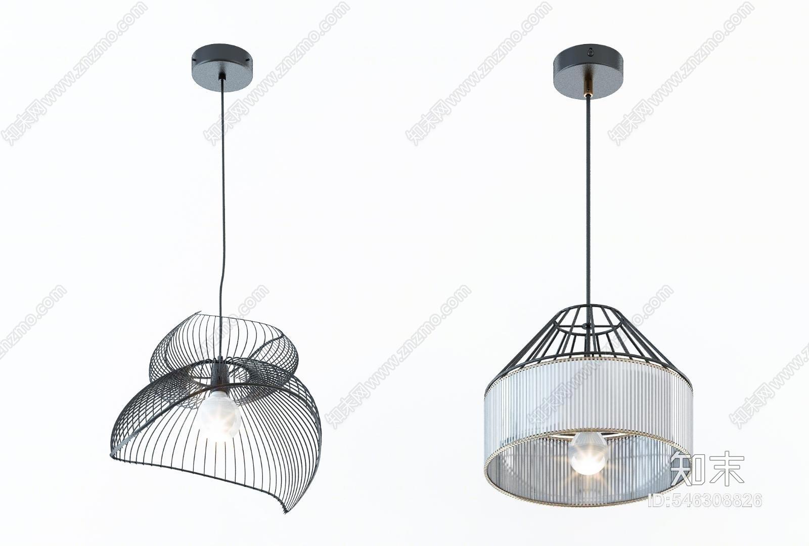 现代时尚吊灯灯具组合3D模型下载【ID:546308826】