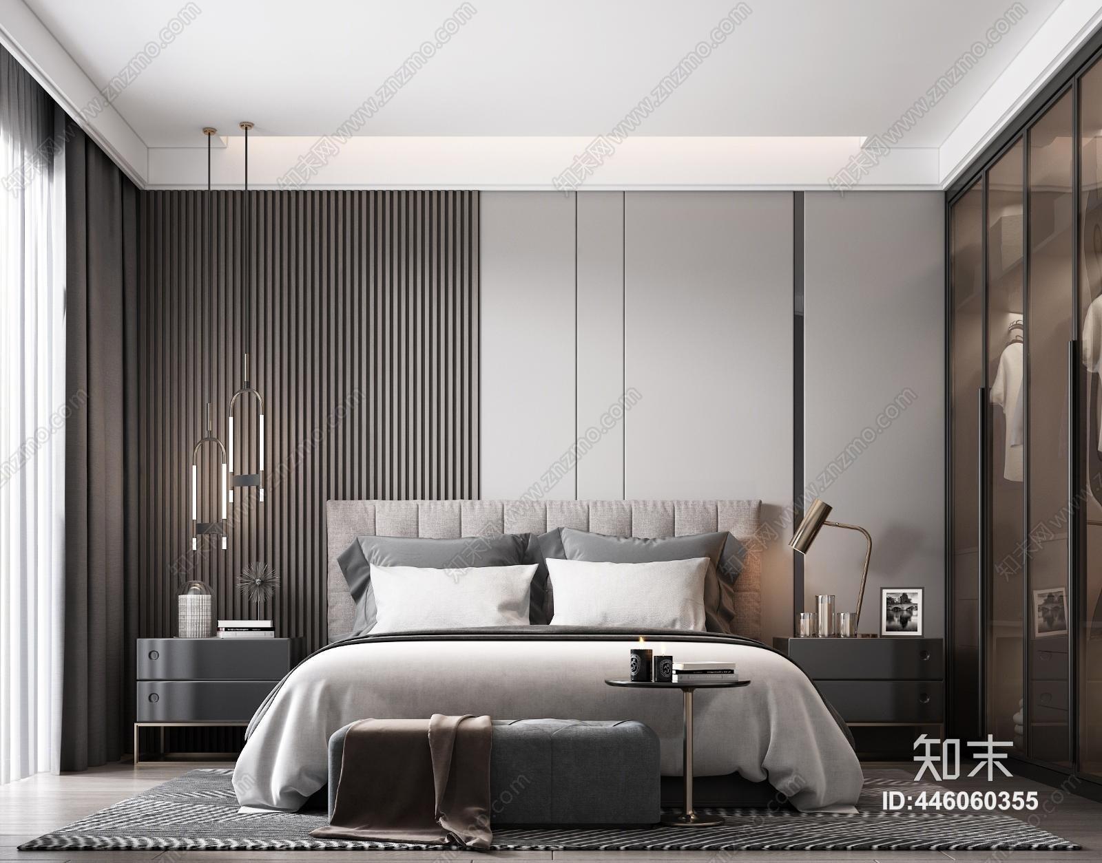 现代轻奢卧室3D模型下载【ID:446060355】