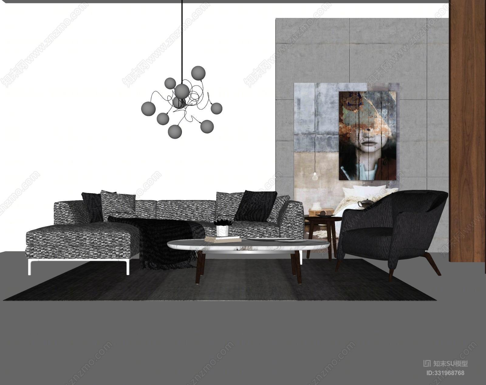 现代沙发茶几 吊灯