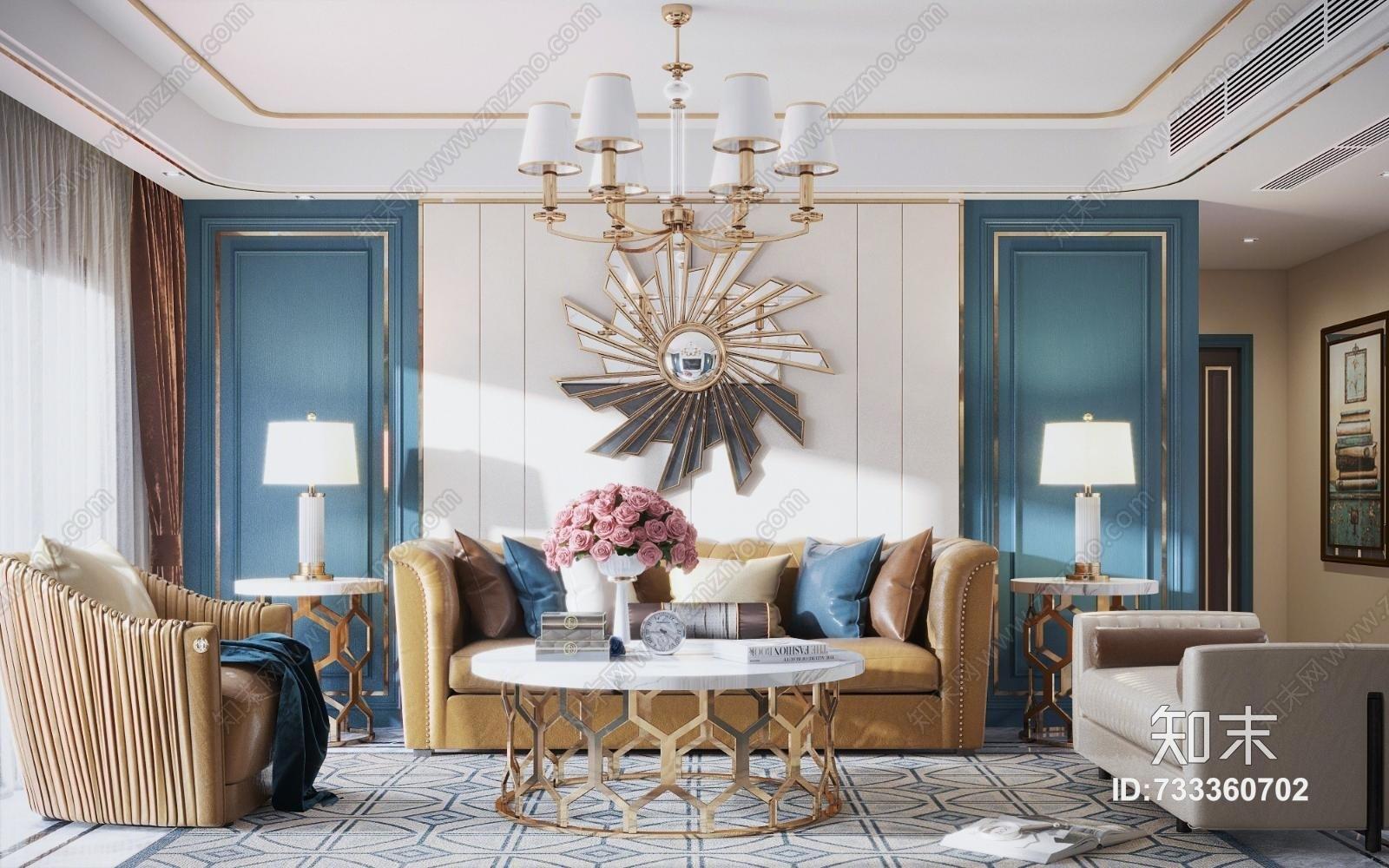 现代轻奢客厅 太阳墙饰