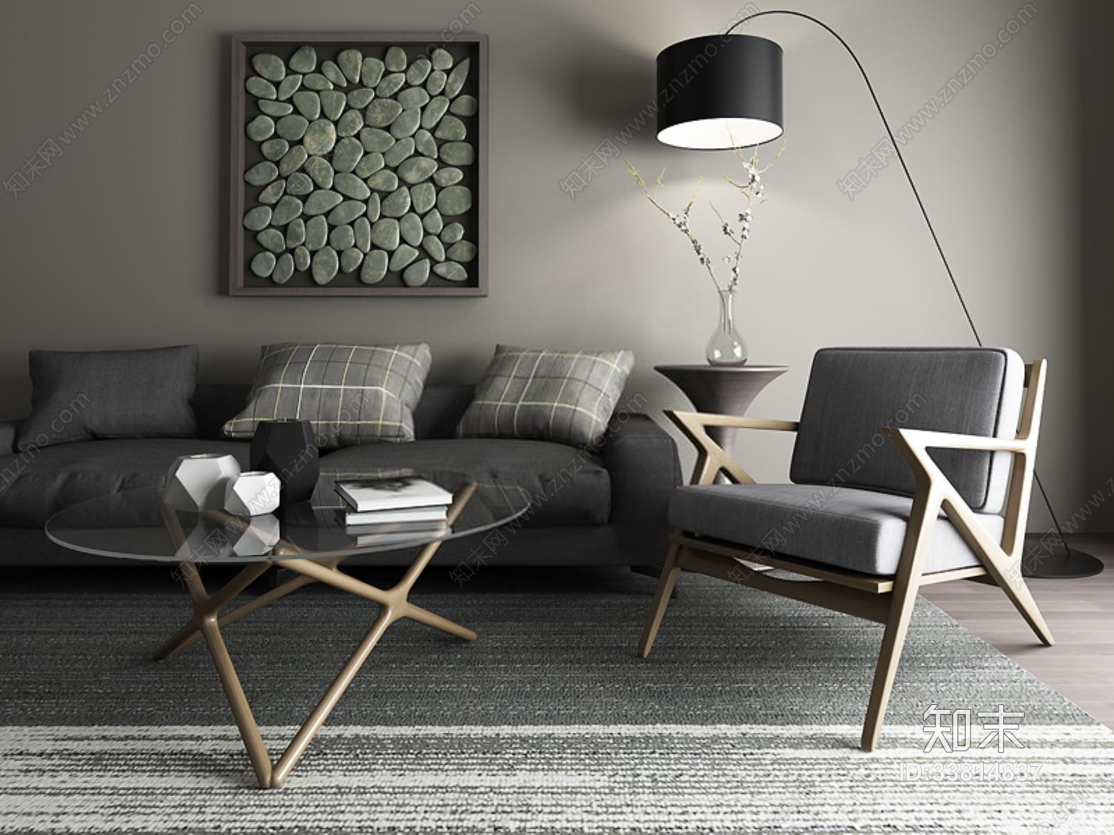 现代中式东南亚休闲椅沙发 现代休闲椅 双人沙发 落地灯 茶几 装饰画 摆件