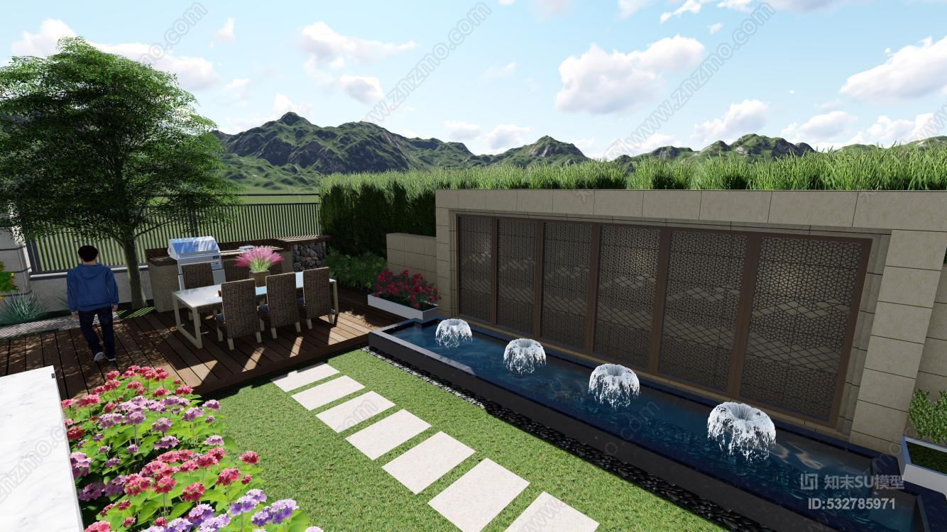 某现代风格庭院 两个版本的庭院模型 室外 庭院 户外 建筑 泳池