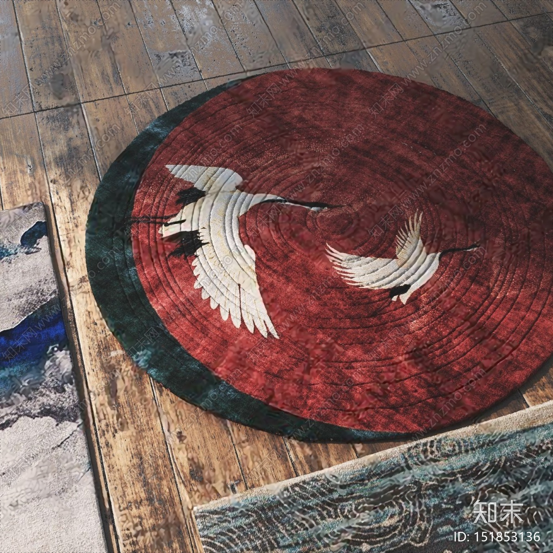 新中式地毯3D模型下载【ID:151853136】