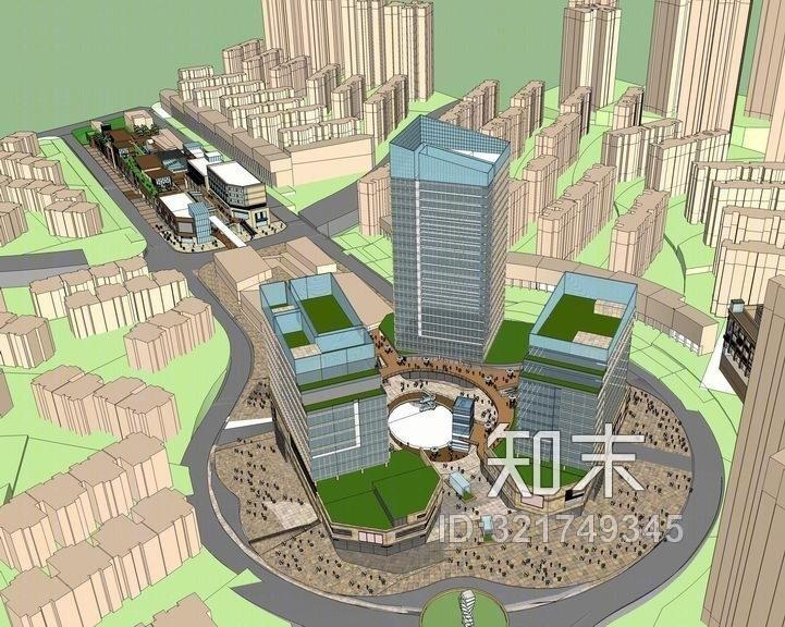 现代商业综合体+现代办公楼SU模型