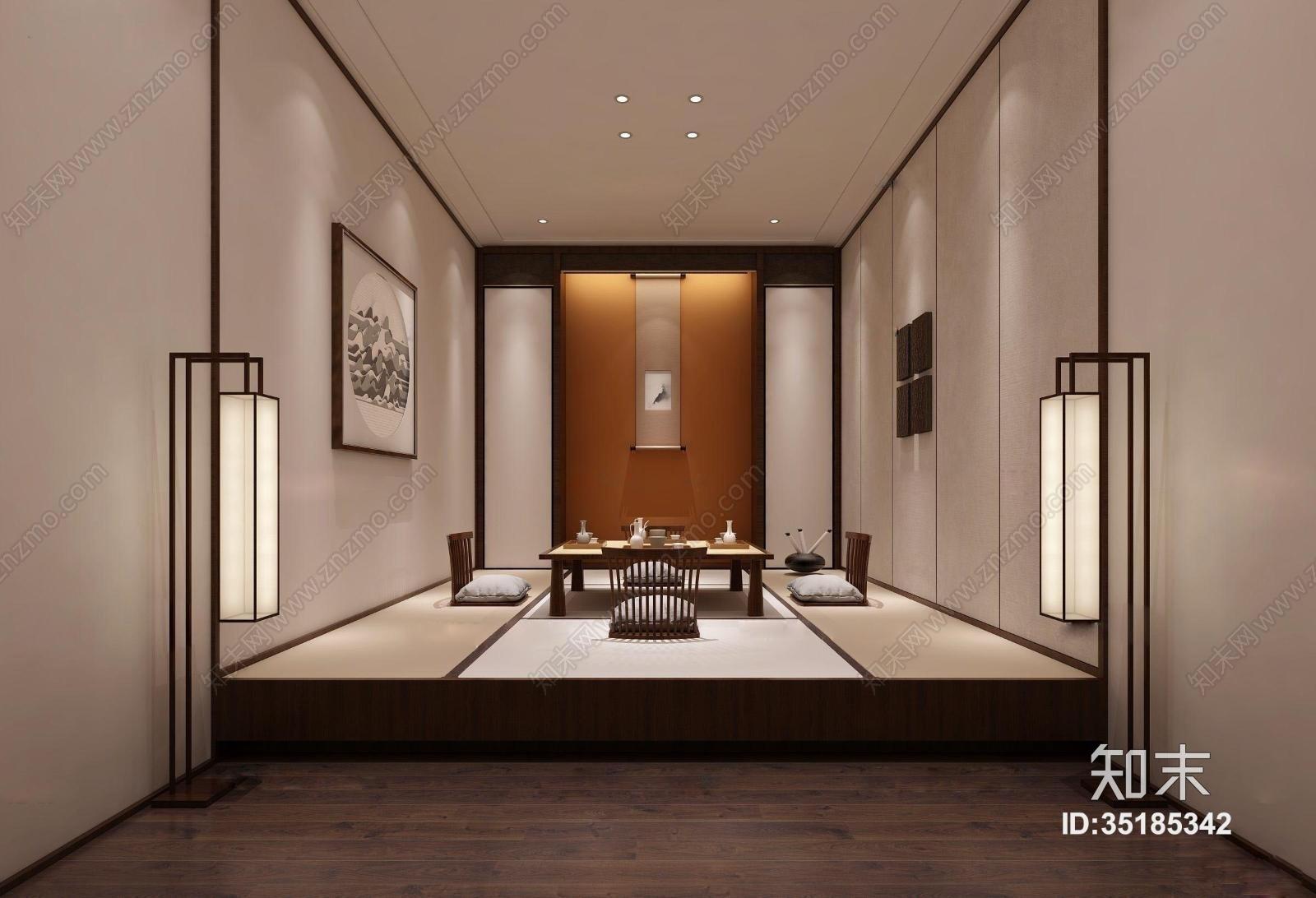 日式禅意榻榻米茶室3D模型