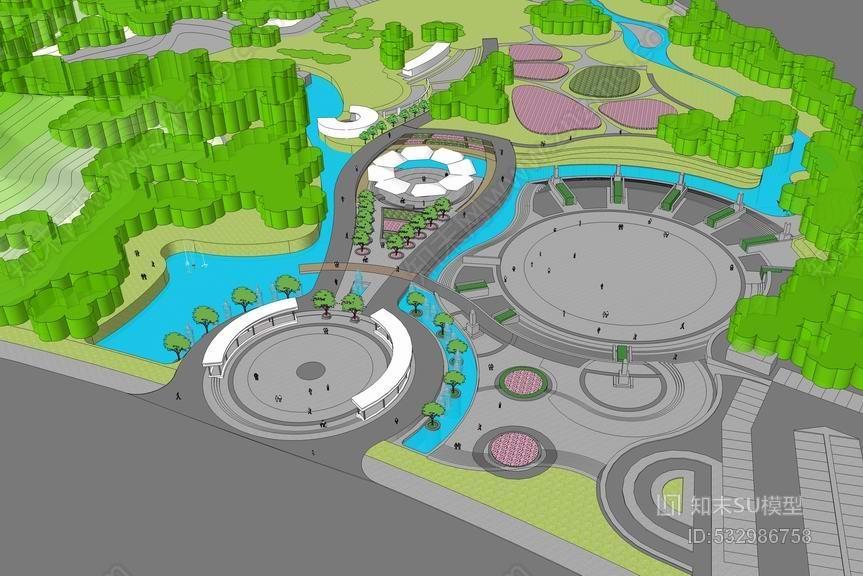 公园入口区景观SU模型