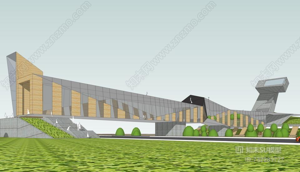 现代景观桥SU模型