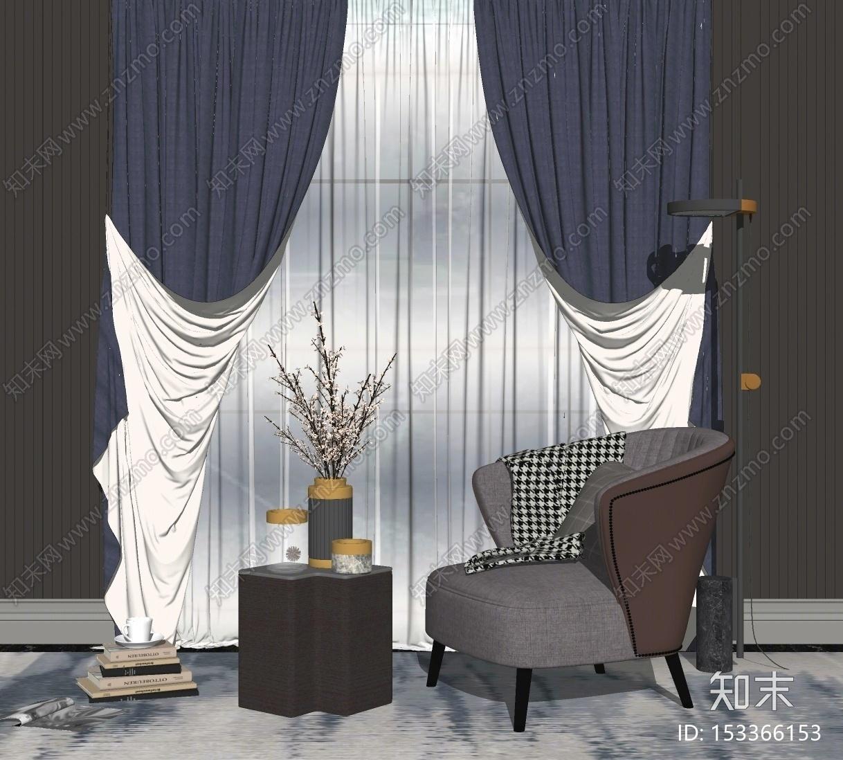 现代窗帘SU模型下载【ID:153366153】
