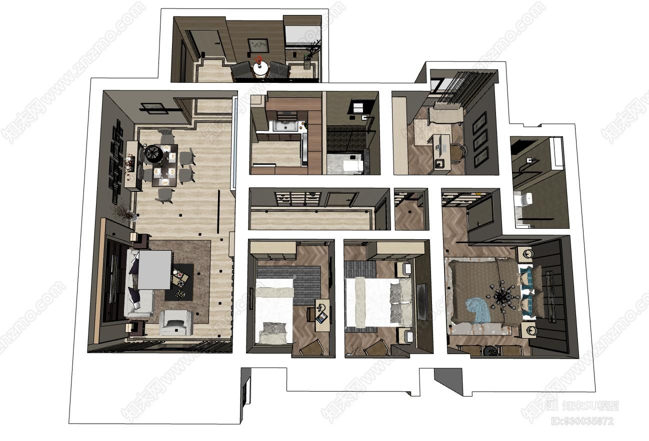 精品SU现代简约风格家装模型下载办公室 室内 餐厅 搁层 室外